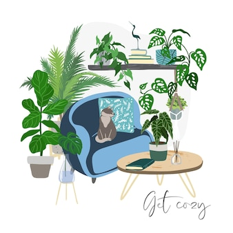 Wnętrze pokoju scandi z roślinami i niebieskim krzesłem, ręcznie rysowane płaskie ilustracja