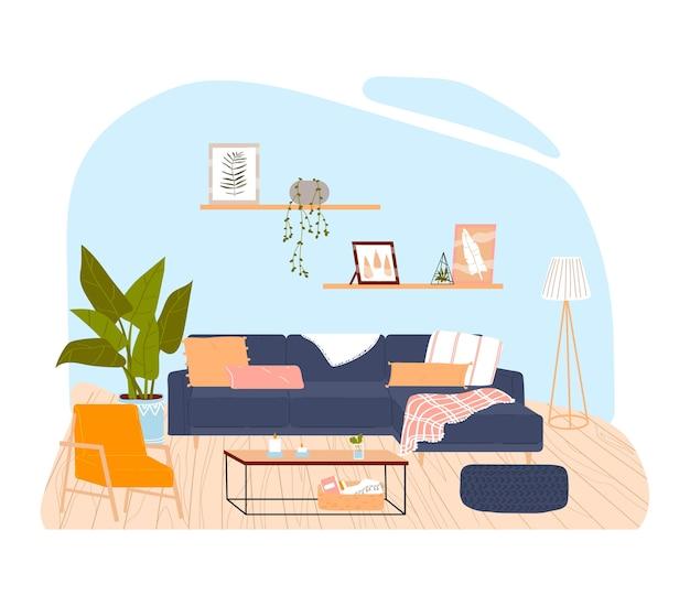 Wnętrze pokoju w domu, kolorowy wystrój, nowoczesne meble, stylowy salon, ilustracja kreskówka, na białym tle. doniczka, modne obrazy na ścianie, miękkie poduszki na sofie, zielone rośliny.