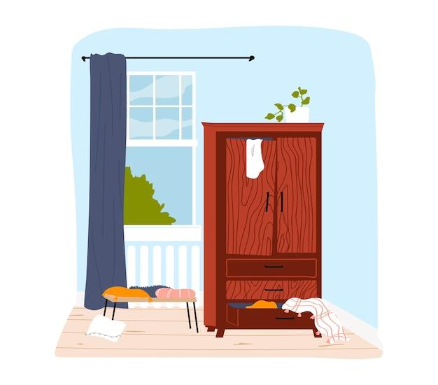 Wnętrze pokoju w domu, nowoczesny design, wygodny dom z meblami, ilustracja w stylu kreskówki, na białym tle. przytulny salon z prostymi meblami i pięknym widokiem z okna.