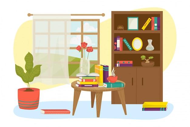 Wnętrze pokoju w domu z ilustracją półki meble książki. tło biblioteki domu, przytulna dekoracja lampy do nauki. wystrój mieszkania, czytanie wiedzy przy drewnianym stole.