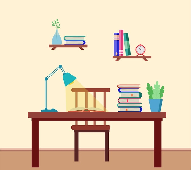 Wnętrze pokoju z biurkiem, książkami, lampą, półkami na ścianie z podręcznikami, zegarem. ilustracja wektorowa koncepcji edukacji, nauczanie zadań szkolnych.
