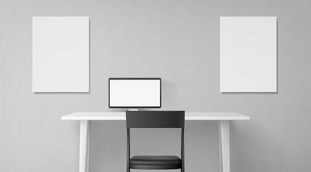 Wnętrze pokoju z biurkiem, siedzeniem i komputerem na stole