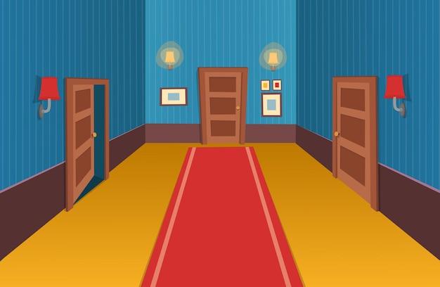 Wnętrze pokoju z drzwiami, lampą i obrazami ilustracja wektorowa korytarza kreskówek
