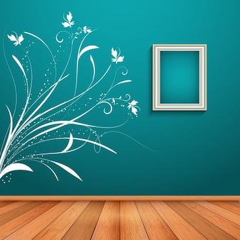 Wnętrze pokoju z ozdobnym kwiatowym naklejka
