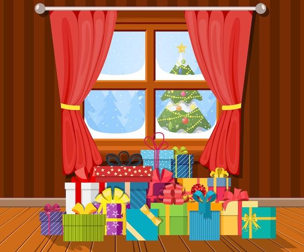 Wnętrze pokoju z prezentami.