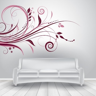 Wnętrze pokoju z sofą i dekoru ścianie kalkomanii