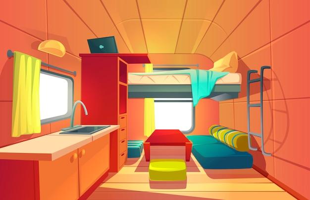 Wnętrze przyczepy kempingowej z łóżkiem na poddaszu rv home