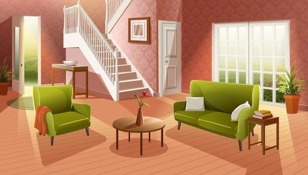 Wnętrze przytulny salon w stylu kreskówek z drewnianą podłogą i meblami, sofą, stołem i oknem do ogrodu.
