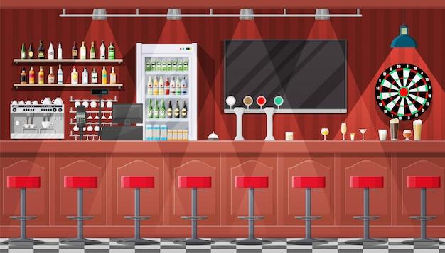Wnętrze pubu, kawiarni lub baru.