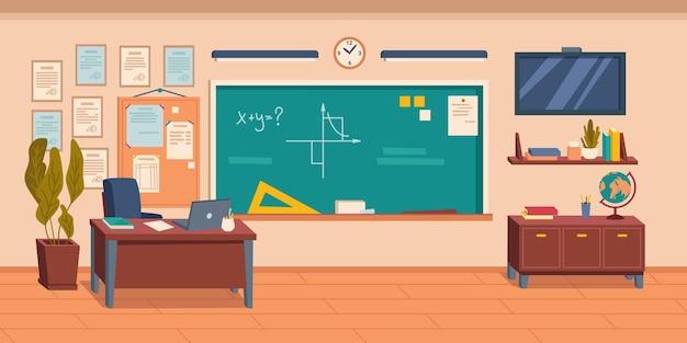 Wnętrze pustej sali szkolnej lub uniwersyteckiej lub sali audytorium z tablicą i