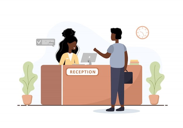 Wnętrze recepcji. afrykańska recepcjonistka i mężczyzna z teczką w recepcji. rezerwacja hotelu, przychodnia, rejestracja na lotnisku, koncepcja recepcji banku lub biura. płaskie ilustracja kreskówka