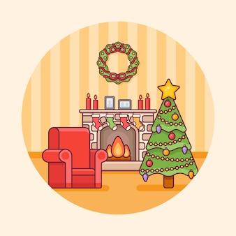 Wnętrze sali bożonarodzeniowej z kominkiem, drzewem i okrągłym fotelem. dekoracje świąteczne w stylu linii płaskiej.