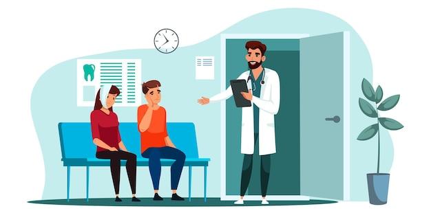 Wnętrze sali kliniki dentystycznej medycyny. lekarz dentysta w mundurze zapraszając kolejnego pacjenta na wizytę. postać kobiety i mężczyzny cierpiących na ból zęba. gabinet stomatologiczny, gabinet stomatologiczny. wektor
