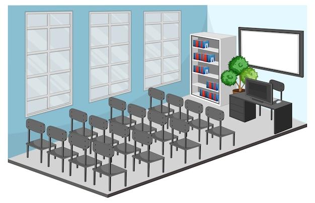 Wnętrze sali konferencyjnej lub klasy z meblami