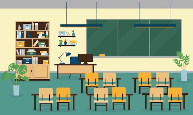 Wnętrze sali lekcyjnej z meblami, komputerem, lampami, tablicą szkolną i rośliną. ilustracja.