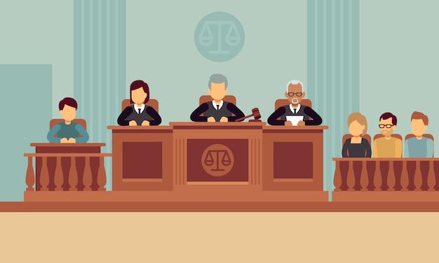 Wnętrze sali sądowej z sędziami i prawnikami.