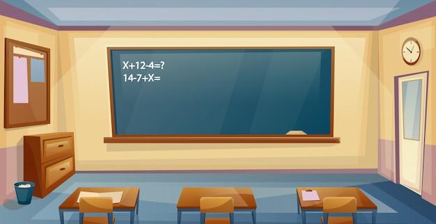 Wnętrze sali szkolnej z biurkiem i tablicą