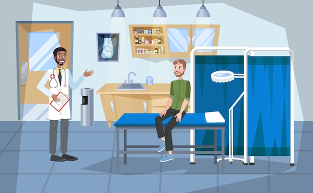 Wnętrze sali szpitalnej. lekarz i pacjent w środku