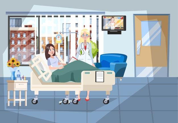 Wnętrze sali szpitalnej. pacjent leży w łóżku