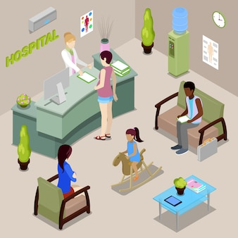 Wnętrze sali szpitalnej z pielęgniarką i pacjentami. kobieta zarejestruj się w recepcji. ludzie izometryczni.