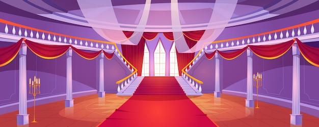 Wnętrze sali ze schodami w średniowiecznym zamku królewskim.