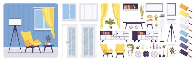 Wnętrze salonu, domu, zestaw do tworzenia biur, nowoczesna inspirująca dekoracja