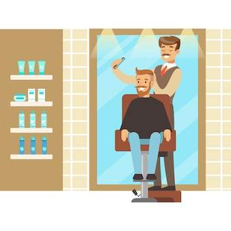 Wnętrze salonu fryzjerskiego lub fryzjerskiego. kolorowa postać z kreskówki ilustracja