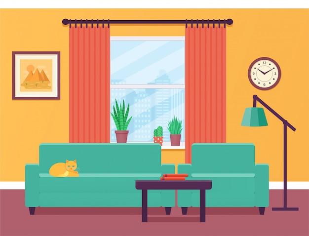Wnętrze salonu. ilustracja. mieszkanie .