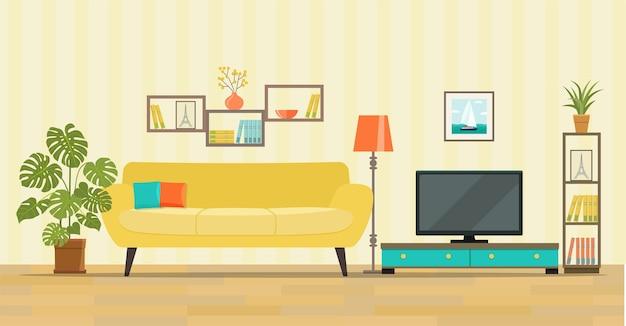 Wnętrze salonu meble, kanapa, regał, telewizor, lampy