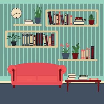Wnętrze salonu. nowoczesny dom. pokój z półkami na książki i sofą