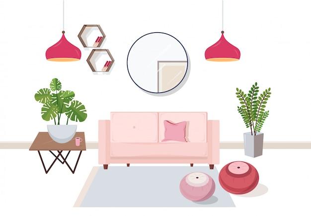 Wnętrze salonu pełne wygodnych mebli i dekoracji - kanapa, stolik kawowy, rośliny domowe, pufy, półki, lampki, lustro. kolorowa ilustracja w stylu płaski