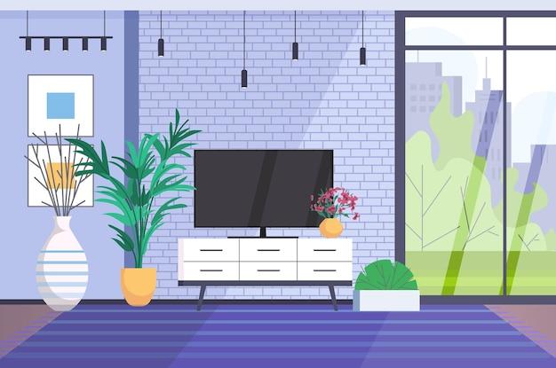 Wnętrze salonu puste nie ma ludzi w domu nowoczesny projekt mieszkania pozioma ilustracja wektorowa