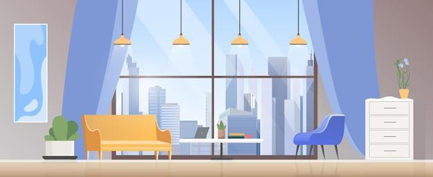 Wnętrze salonu, pusty nowoczesny przytulny dom z rozkładanym fotelem, stolikiem na laptopa, rośliną doniczkową