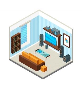 Wnętrze salonu. rozrywka kino domowe stół konsola telewizor zestaw komputerowy system audio izometryczny obraz