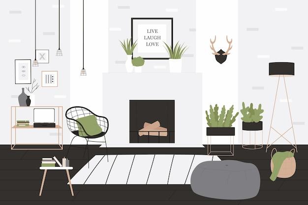Wnętrze salonu w stylu loftu