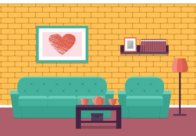 Wnętrze salonu w stylu płaskiej. graficzny.