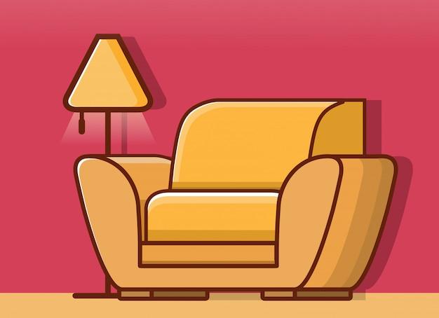 Wnętrze salonu z fotelem i lampą podłogową.