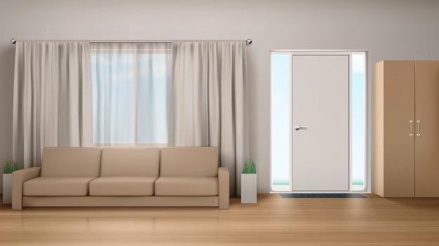 Wnętrze salonu z kanapą i szafą.