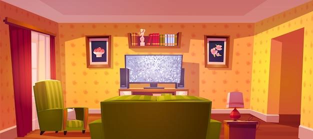 Wnętrze salonu z kanapą i telewizorem z widokiem z tyłu, regałem i fotelem