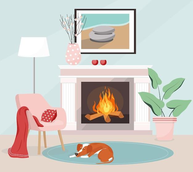 Wnętrze salonu z kominkiem lampa podłogowa wazon pies śpi na dywanie