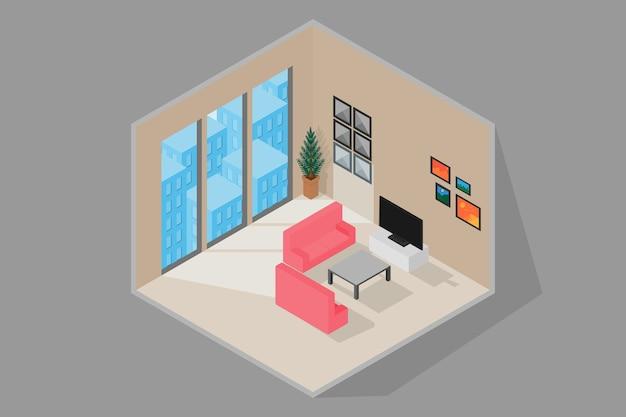 Wnętrze salonu z meblami i oknem