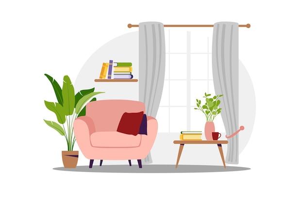 Wnętrze salonu z meblami. nowoczesny fotel z mini stolikiem. płaski styl kreskówki. ilustracji wektorowych.