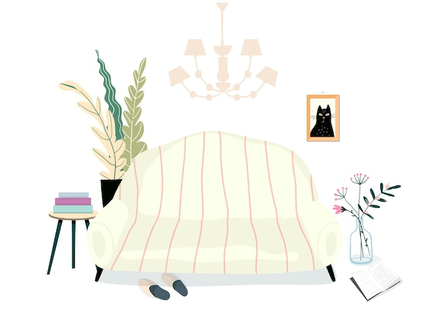 Wnętrze salonu z meblami. sofa lub kanapa, rośliny domowe, książki i kapcie ilustracja domowa i ciepła. codzienne czytanie relaksujące miejsce.