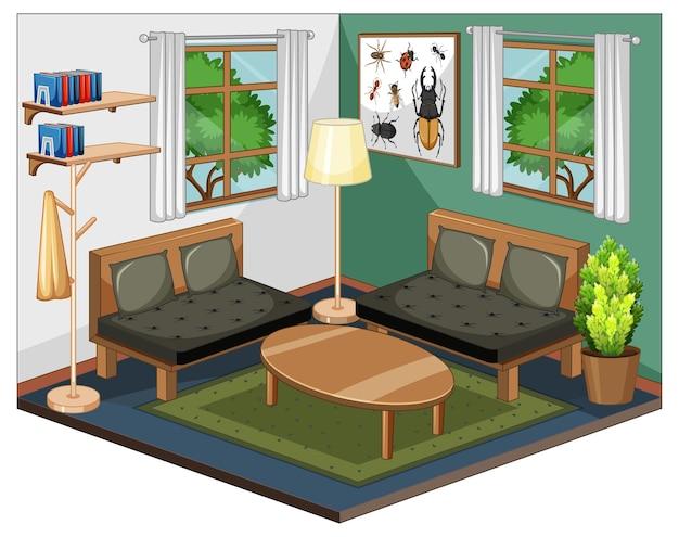 Wnętrze salonu z meblami