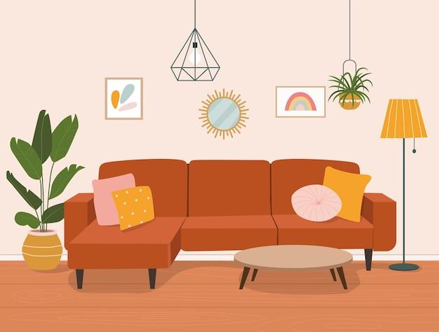 Wnętrze salonu z sofą i regałem