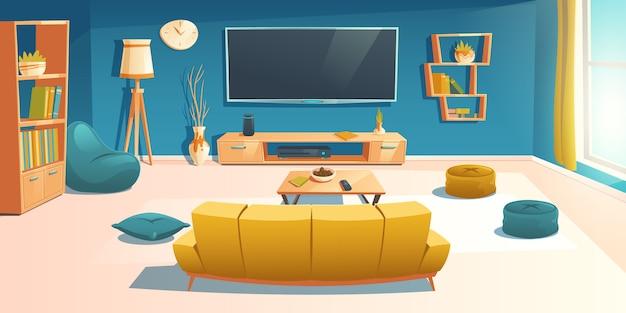 Wnętrze salonu z sofą i telewizorem, mieszkanie