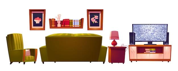 Wnętrze salonu z sofą i widokiem na telewizor z tyłu