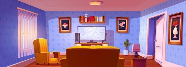 Wnętrze salonu z widokiem z tyłu na sofę, krzesło i świecący ekran telewizora