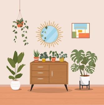Wnętrze salonu ze skrzynią i roślinami domowymi