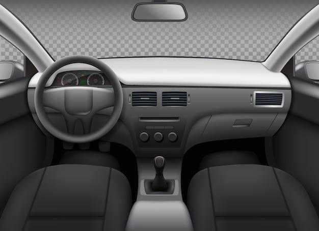 Wnętrze samochodu. samochodowy realistyczny salon informacyjny na desce rozdzielczej prędkościomierz skórzane siedzenie lustro widok z tyłu szablon wektora. ilustracja wnętrza auto, panel samochodowy pojazdu